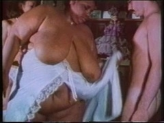Fluffy kitten with huge boobs gets fondled & licked by fella & a hot brunette
