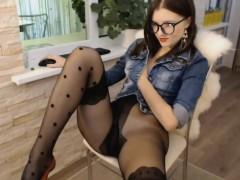 Amateur, Cul, Brunette brune, Nylon, Solo, Jouets, Webcam