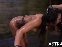 ropped honey fucked with huge toys