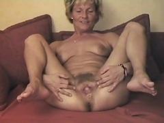 Old Displays Her Lovely Hairy Snatch