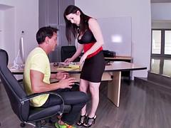 Big Titty Footsie Fucked On Desk