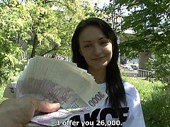 Morena, Checa, Europeo, Dinero, Pov, Público, Coño, Montar