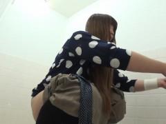 Squatting asians piss