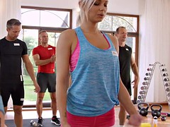 FitnessRooms Sweaty cleavage in a room full of yoga babes