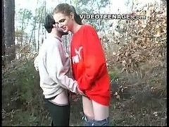 teen gives bj boyfriend in forest