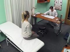Fake doctor gets her fur pie hammered inside fake hospital