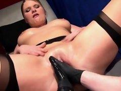 German blonde with big juggs enjoys having her wet snatch