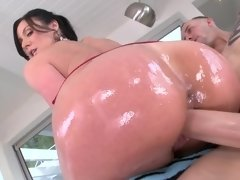 Lubed booty Kendra Lust on top for big cock in her pussy