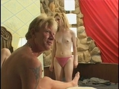 Blonde tgirl banged hard