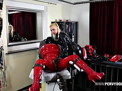 rubberdoll inflated in latex body bag - completely immobile to mistress