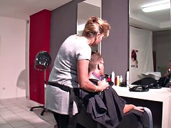 German Mother Fucks public with customer after Hairdressing
