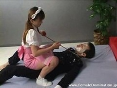 Servant suffers face slapping and furthermore eats maids fuck hole