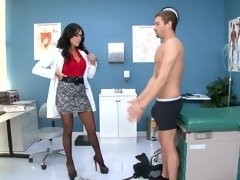 Splendid doctor with pierced nipples services handsome cavalier