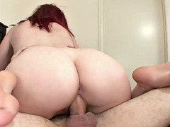 Cum On Redhead's Playful Feet