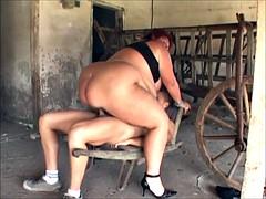 Mature SSBBW fucked in the barn