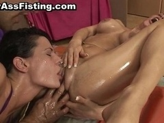 Big-breasted bitch gets her tush fucked & pussy part3