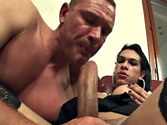 attractive transsexual kelly offers a huge load on a guy
