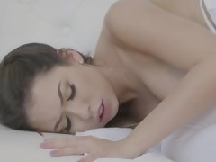 The white girl relaxes her tired black husband with big cock
