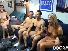 Captivating fuckfest party with slutty cuties and hunk
