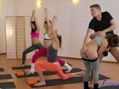 Horny yoga coach fucked Amy Red & Yenna Black in the gym