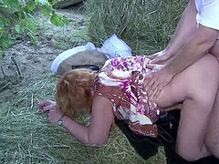 German milf mother and Dad nail Outdoor on farm
