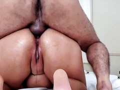 Busty wife with big ass gives me handjob for cum on tits - homemade POV