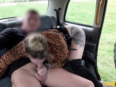 A cab driver bangs some hoe in knee-high boots and sexy panties