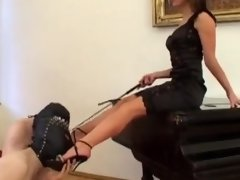 Two masked subs worship shoes & mistress' bare feet