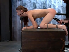 Brunette slave is planted on pipe