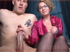 This is weird - big dick handjob mistress
