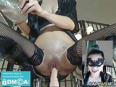 Skinny masked cam girl pussy fucking with dildo machine on webcam