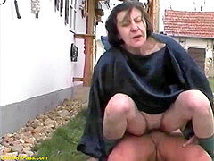 gross 80 years senior grannie outdoor fucked