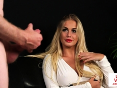 Dominant beauty instructs and teases sub guy