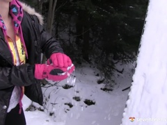Snow ball throwing Nicoletta filmed by Betty