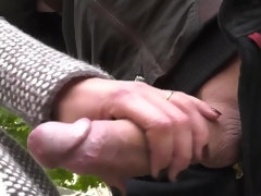 Public handjob and outdoor anal fucking with a hot busty milf