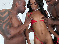 bony ebony chick gets dual dicks