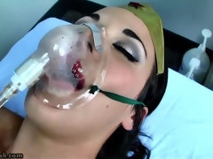 busty kendra james in lesbian fetish with bondage and gagging